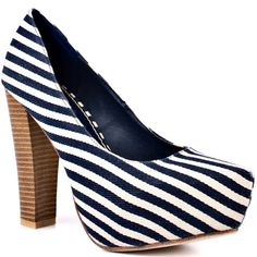 Show off your swag in this transitional pump from 2 Lips. Too Swagger showcases a blue and white striped canvas upper that hides a 1 inch platform. This look will be your new favorite with its 4 inch stacked chunky heel. Striped High Heels, Striped Shoes, Cheap Designer Shoes, Chunky Heel Pumps, Thing 1, Striped Canvas, Wholesale Shoes, Pretty Shoes, Heeled Mules