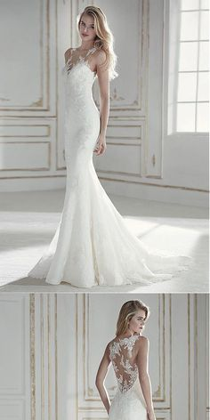 Attractive Tulle & Lace Mermaid Wedding Dress With Lace Appliques ,WDY0180 #wedding dress#