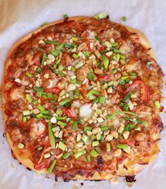 Thai-style pizza---I like the basic idea of this. Boy, this blogger makes you scroll through a lot of unnecessary chatter and photos to get to a recipe.