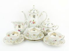 Vintage - Romantic porcelain teaset  (10 pieces) - floral design and gold decoration - Zeh Scherzer - Bavaria - Made in Germany on Etsy, ฿2,331.67