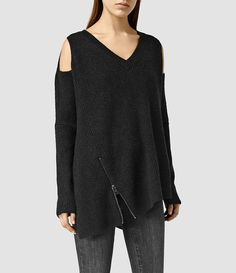Womens Able Open Shoulder Sweater (CinderBlackMarl) - product_image_alt_text_1
