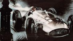 Pau Grand Prix, drawing by Walter Gotschke (detail)- Repinned from pinterest.com/MercedesBenz/