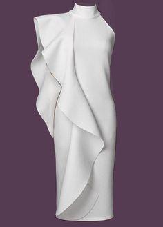 White Zipper Back High Neck Back Slit Dress