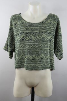 Size S 10 Ladies Blouse Top Casual Crop Short Olive Green Boho Gypsy Layer Style