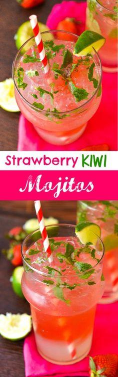 Skinny Strawberry Kiwi Mojitos - recipe attached
