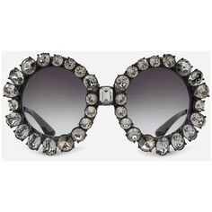 Dolce & Gabbana Round Sunglasses With Swarovski Crystals ($1,375) ❤ liked on Polyvore featuring accessories, eyewear, sunglasses, black, dolce gabbana glasses, dolce gabbana eyewear, swarovski crystal glasses, swarovski crystal sunglasses and round frame glasses