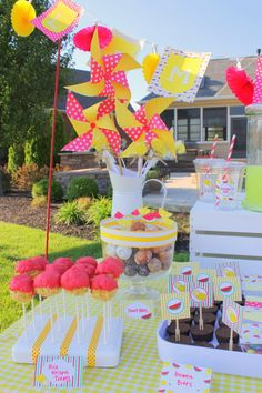 Watermelon, Lemonade Stand Printables. Love the pinwheels! Would be perfect for a bake sale.