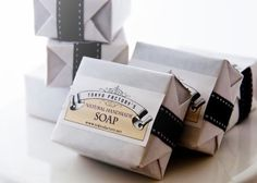 What's with my penchant for soap? Something rustic, familiar and tactile about opening soap. #packaging #soap #design