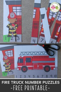 A high-interest math activity for boys!  Use these free fire truck printables to fun way to teach number recognition and number order. Both fire truck number puzzles will be great addition to your community helpers theme, fire safety theme, or firefighters theme unit and lesson plans in preschool or pre-k.  Teachers and children will love these fire trucks and firemen free printables.  Make math learning fun for kids ... perfect for learning at home. Activities For Boys, Gross Motor Activities, Counting Activities, Literacy Activities, Number Activities, Firefighters, Firemen, Volunteer Firefighter, Early Learning