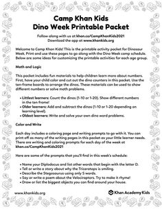 Follow along with these fun activities for Camp Khan Kids Dino Week Hands On Activities, Fun Activities, Kindergarten Themes, Kids Library, Little Learners, Nonfiction Books, Kids Learning, Printables, Camping