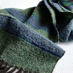 Handwoven Green / Blue Mens Scarf for the Autumn  Forest by Akkord