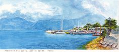 A view of a marina on Lake Garda, near Verona in northern Italy. The view of distant mountains from Peschiera at the foot of the lake. Ink and watercolour painting by Dai Wynn on 300 gsm smooth surface Arches cotton paper.  NFS