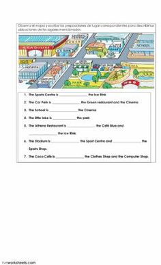 Preposition of place on a map Language: English Grade/level: Beginners - pre - intermediate School subject: English as a Second Language (ESL) Main content: Prepositions of place Other contents: Map English Worksheets For Kids, English Activities, English Prepositions, English Grammar, Teaching Maps, Preposition Activities, Opposite Words, Writing Worksheets, School Subjects