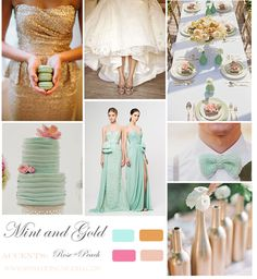 mint, peach and gold colour palette