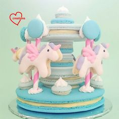 Loving Creations for You: Unicorn Macaron Carousel (blue pea flower coloured)