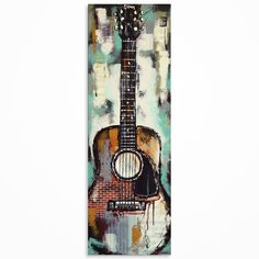 Guitar painting Gift for musician Textured Mixed by MagierFineArt