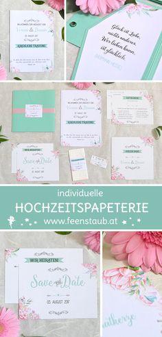 Blumen und Blüten in zartem Rosa mit Hellgrün & Mint und schwarzen Ornamenten bilden das Design dieser Hochzeitspapeterie.  Wir entwerfen mit euch aus euren Ideen und auch ausfallenen Wünschen eure ganz Hochzeits papeterie. Hier mit Pocketeinladungen, Save the Date Karten, Ballonflug Krten, Trauungsheft und Dankeskarten. #feenstaub #hochzeit #blumen #rosa #mint #hochzeitspapeterie #design Save The Date Karten, Mint, Bullet Journal, Design, Pink, Map Invitation, Thanks Card, Peonies, Card Wedding