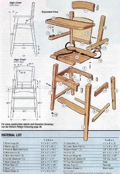 Wooden High Chair Plans - Children's Furniture Plans