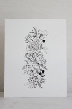 Linework Floral Illustration — Esther Clark Co Peony + Seeded Eucalyptus — Esther Clark Illustration & Calligraphy<br> Botanical art print created from linework illustration by artist Esther Clark. Line Tattoos, Body Art Tattoos, Sleeve Tattoos, Floral Tattoo Sleeves, Tatoos, Floral Arm Tattoo, Mandala Flower Tattoos, Forearm Flower Tattoo, Flower Tattoo Drawings