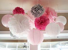 pompom and paper lanterns