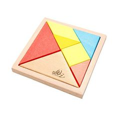 Sunnyhill 7-piece Big Tangram Puzzles Children Puzzle Wooden Toy Color Geometry Brain Training Tangrams Puzzles