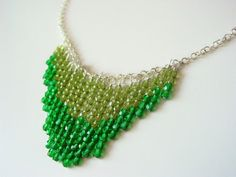 Olive and Emerald Green Beaded Waterfall by MarmeliDesigns on Etsy, $18.00