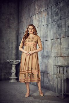 Women's Beige Colored Rayon 2 Tone Pleated Kurti With Foil - gnp007248 | Visit : www.grabandpack.com | TO BUY THIS BEAUTIFUL OUTFIT CONTACT US / WHATS APP US ON : +91 9898133588 || EMAIL US AT grabandpack@gmail.com || you can visit on www.grabandpack.com | #style #chennai #cotton  #sareeinspiration #sareesonline #bridalsarees #pet #sareeseduction  #saree2020 #2020trending #kurti #chex #sleeveless #walkway #pleated #indowestern #kurti #straight #charming #bluehills #pearl #handwork #foilprint Latest Kurtis Online, Anarkali Suits Online Shopping, Stylish Kurtis, Kurti Collection, Western Dresses, Sarees Online, Beautiful Outfits, How To Wear, Color