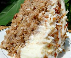 Hawaiian Wedding Cake with Whipped Cream Cheese Frosting - no need to wait for a wedding to make this delicious pineapple, coconut, walnut, cinnamon and sugar cake that will have you going back for seconds, maybe thirds! (cream cheese icing for cookies) Köstliche Desserts, Delicious Desserts, Dessert Recipes, Yummy Food, Frosting Recipes, Hawaiian Desserts, Hawaiian Recipes, Hawaiian Dishes, Icing Recipe