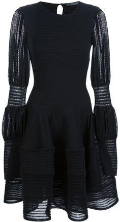 ALEXANDER MCQUEEN Semi Sheer Ribbed Dress - Lyst