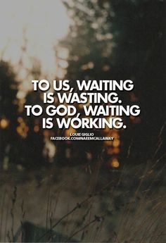 God has a purpose in everything he does. Sometimes we feel that in our waiting it's wasted time, even unbearable, too. The truth is we just want a microwave miracle. God doesn't work like that all the time. He needs to work in us while we wait. Read more here: http://godsgracefulness.com/waiting-is-not-time-wasted/