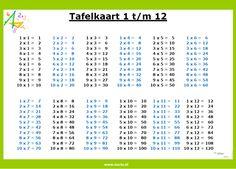 Tafelkaart 1 t/m 12 | www.nazia.nl – De klas enzo… Math Cheat Sheet, Live Life Love, Co Teaching, Montessori Education, Too Cool For School, School Hacks, Creative Kids, Math Games, Preschool Activities