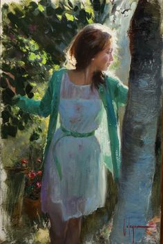 (Russia) Contrejour by Vladimir Volegov (1957~ ). Oil on canvas.