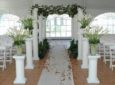 columns with flowers for alter