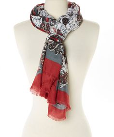 Look what I found on #zulily! Red & Teal Paisley Oblong Scarf #zulilyfinds