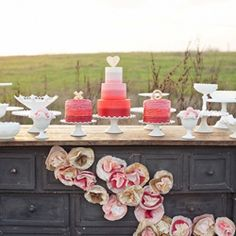 Get inspired with outdoor weddings such as this beautiful outdoor dessert table! (via oursweetloveblog)