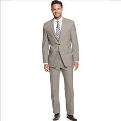 Calvin Klein Taupe Sharkskin Slim Fit Suit, Size 40R - 34W, Retail $650 | Property Room