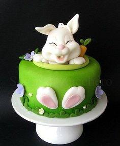 şeker hamurundan tavşanlı pasta