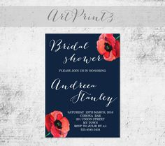 Navy Bridal Shower Invitation Printable, Poppies Bridal Invite Printable, Rustic Bridal Shower Invitation Printable, Floral Bridal Invite