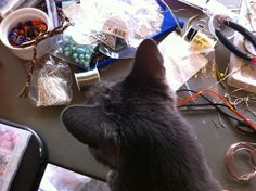 J.R. likes to help when I'm crafting for AptToCraft.blogspot.com
