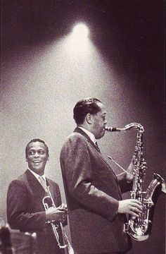 Miles Davis and Lester Young...awesome on stage smile from Miles...