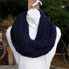 Unisex Dark Navy Blue INFINITY LOOP COWL SCARF, 62 x 6    Extra Soft and Lightweight Dark Blue Infinity Scarf hand-crocheted with a high quality acrylic yarn. Because of the cuddly softness, the scarf is incredibly comfortable and feels wonderful against the skin.    With this infinity scarf I used a large hook creating loose stitches that allow the scarf to be extremely pliable (floppy).   The color in the photos is called Dark Blue, a classic solid navy blue. This yarn is matte (no sheen)…