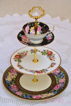 If your china isn't actually broken — but is sitting around gathering dust — turn it into a tiered platter, perfect for holding cupcakes and sweets at your next party.