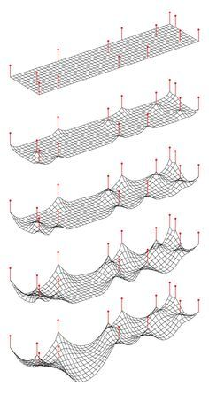 """Cloth"" via point manipulation Parametric Architecture, Parametric Design, Architecture Drawings, Landscape Architecture, Architecture Design, Futuristic Architecture, Parametrisches Design, Urban Design, Membrane Structure"