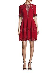 NICHOLAS Crepe Lace Inset Mini Dress - Lipstick - Size