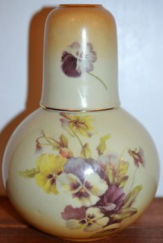 Vintage 1898 CHINA COMPANY Pansy Water Decanter Pitcher Glass Tumble Up Floral
