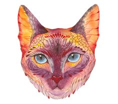 Cat face // SALE 3 for 2 // Koshka kitten face artwork print, size (No. Watercolor Art Face, Watercolor Illustration, Cat With Blue Eyes, Cat Art Print, Cat Face, Cat Eyes, Wildlife Art, Artwork Prints, Art Photography