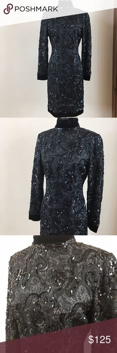 """👠💍🍾 YOUR LAST LBD 👠💍🍾 US designer black sequin dress by Carolyne Roehm. Back zip, velvet trimmed neckline, hem and wrists. Simply stunning. Size 10. Measurements are 18"""" under arms, 15"""" waist, 39"""" overall length and 24"""" arm length.  Fully lined. Carolyne Roehm Dresses"""