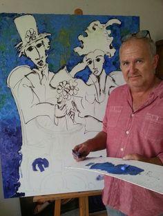 Art...Laurens Barnard painting @ studio. .. Painting Studio, Brooklyn Bridge, Artist, Artists