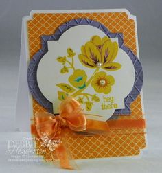 Stampin' Up! Hey There Buds and Organza Ribbon colored with Blendabilities. Debbie Henderson, Debbie's Designs.
