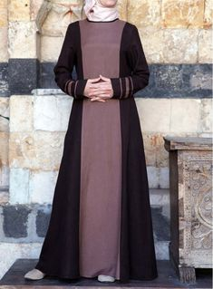 khalida dress sweet black and moca Islamic Fashion, Muslim Fashion, Niqab Fashion, Fashion Dresses, Hijab Style Dress, Mode Abaya, Abaya Designs, Elegant Dresses For Women, Couture